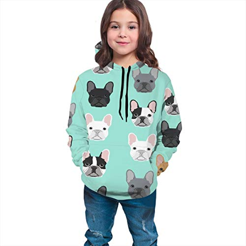 YongColer Unisex Fashion Hooded Sweatshirts Digital Print Pullover Hoodies for Teen Boys and Teen Girls(French Bulldog Sweet Dog Puppy Puppies Dog, M)