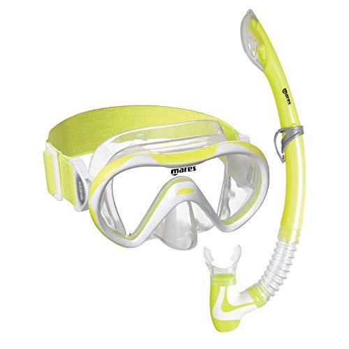 Mares 411789 411789-Kit Mascara y Tubo Snorkel Buceo Vento Neon Color Am/Bl/TR, Adultos Unisex, Infantil