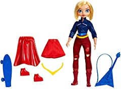 Supergirl doll, a.k.a Kara Danvers, comes with two complete looks -transform her from super-teen to Super Hero! Fans can play out every day Super Hero High stories, or swoop into action-Packed play to save the day with this doll and 6 removable acces...