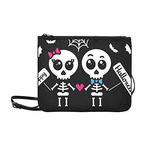 WYYWCY Lindo Kawaii Esqueleto Patrón de Halloween Personalizado de alto grado Delgado bolso de embrague Delgado bolso de hombro Bolsa de hombro cruzado