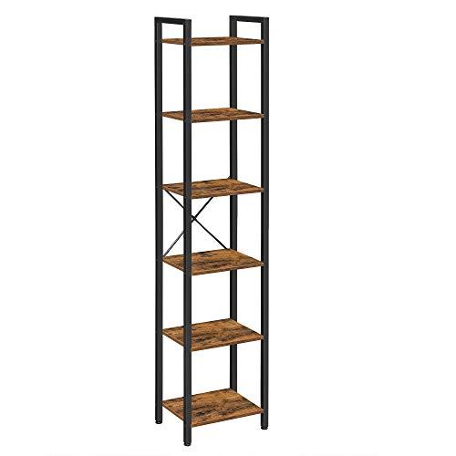 VASAGLE Librería de 6 Niveles, Estantería para Libros, para Oficina, salón, Dormitorio, 40 x 30 x 178,6 cm, Marrón Rústico y Negro LLS101B01