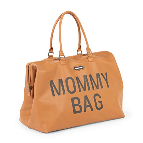 Childhome Wickeltasche MOMMY BAG groß in Braun inklusive Wickelmatte, 55 x 30 x 30 cm