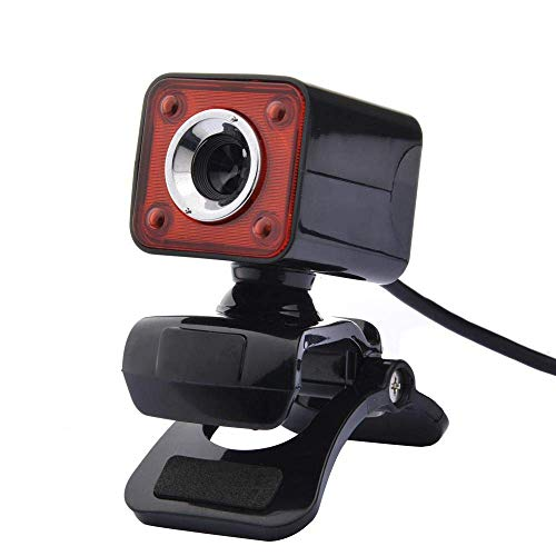 Brand USB 2.0 4 LED HD Webcam Camera webcam for Computer PC Laptop met MIC Zwart, Rood lili (Color : Black+Red)