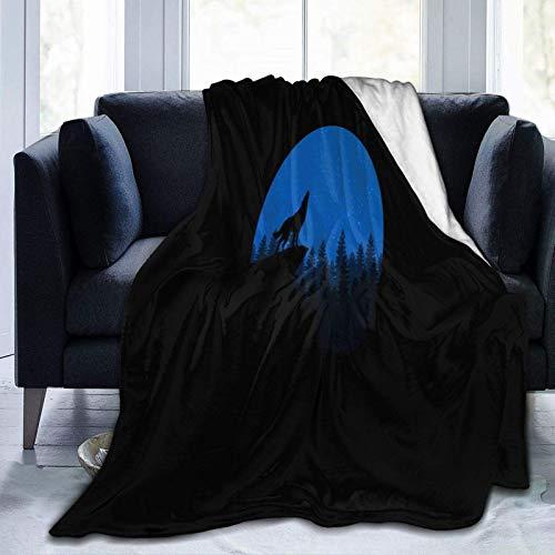 N \ A Manta de forro polar ultra suave, diseño de lobo minimalismo, decoración del hogar, manta cálida para sofá cama, 20 x 60 pulgadas