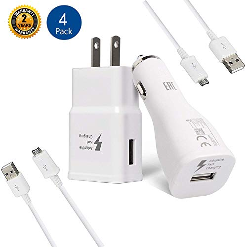 Adaptive Fast Charger Kit-LaoFas Fast Charging Adapter Travel Charger Compatible with Samsung Galaxy S7 Edge / S6 / Note5 / Note 4/ S3 (Wall Charger + Car Charger + 2 x Micro USB Cable)(White)