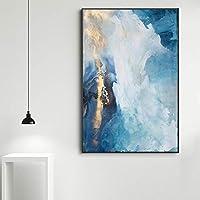 """キャンバス上の写真ブルーとゴールドのアートペインティングポスターとプリントアートキャンバスペインティング写真部屋の家の装飾15.7"""" x23.6""""(40x60cm)フレームなし"""