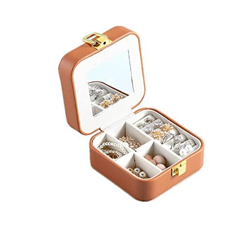 ASDMRQ Caja de joyería, caja de almacenamiento de joyas de cuero para mujer, caja de almacenamiento de joyas portátil, caja de joyería de diseño simple