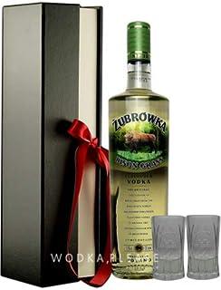 Geschenkidee ubrówka Bison Grass Vodka  2 x Original ubrówka Shot Glas in Geschenkbox