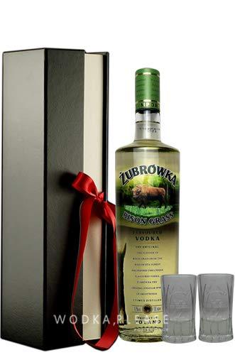 Geschenkidee Żubrówka Bison Grass Vodka + 2 x Original Żubrówka Shot Glas in Geschenkbox