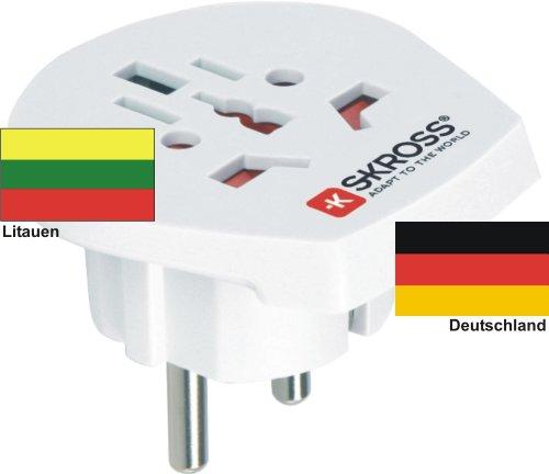 Reiseadapter - Auslandsadapter auf Deutschland Schukostecker - Strom Netz Adapter für Stecker aus Litauen 220-230V Umwandlungsstecker Reisestecker German Travel Adapter Lithuania
