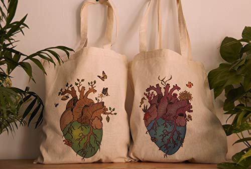 Nature heart tote bag: Terrestrial or Marine type. Ecological bag made of 100% cotton. Earth bag.