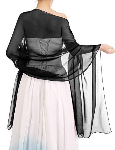 Bbonlinedress Schal Chiffon Stola Scarves in verschiedenen Farben Black 190cmX70cm