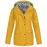 Briskorry Chubasquero para mujer con capucha para bicicleta, ligera, cortavientos, chaqueta para exteriores, resistente al agua, cortavientos, transpirable, chaqueta deportiva, amarillo, XXXL