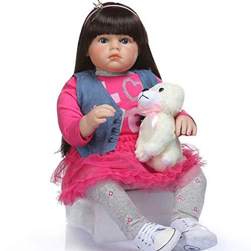 XBR Muecas Reborn, Mueca de Silicona de Pelo Largo, Lindo Disfraz de beb de un ao, Modelo de fotografa, Juego para nios, casa, Rompecabezas, iluminacin, Regalo, 70 cm, muecas nutritivas