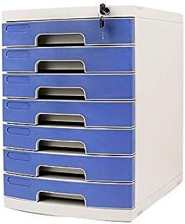 Nologo SH-CHEN Desktop Drawer Sorter 6-Layers Lockable Data Office Storage Drawer Confidentiality Office Desktop Drawer Organizer Blue (11.8in15.8in17.2in) (Size : 7-Layers) File Cabinets