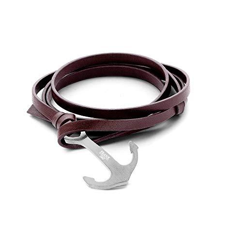 Frank 1967 armband echt leer bruin met anker roestvrij staal