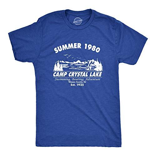 Crazy Dog Tshirts - Mens Summer 1980 Mens Funny T Shirts Camping Shirt Vintage Horror Novelty Tees (Blue) L - Camiseta Divertidas