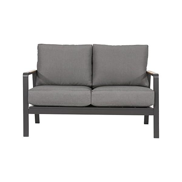 lifestyle4living Hocker aus Aluminium in grau mit Sitzkissen für Terrasse oder Garten. Variabel einsetzbar als Fußbank…