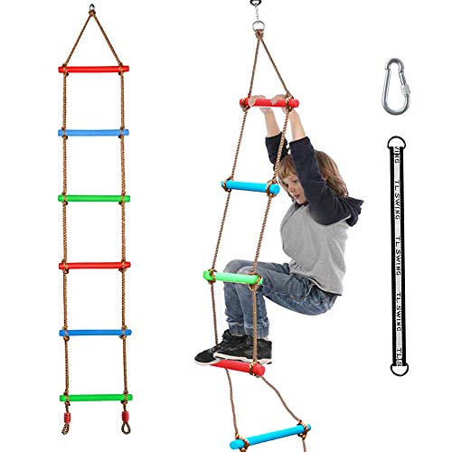 Xinlinke Climbing Rope Ladder Kids Tree Swing with Hanging Strap, Indoor and Outdoor Backyard Playground Play Swing Sets Climber Training Accessories Ninja Slackline Attachment