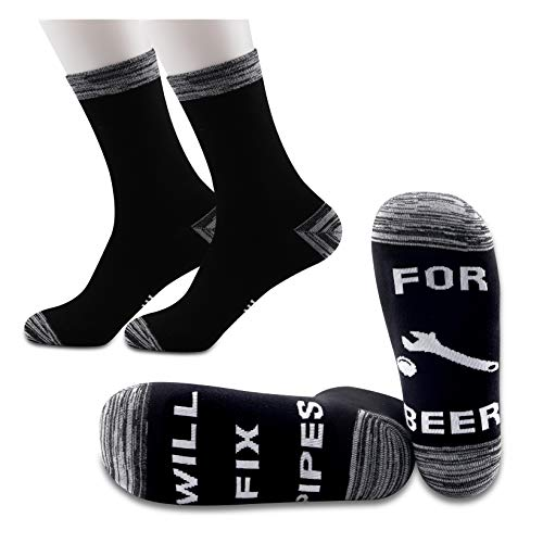 JXGZSO 2 Pairs Funny Plumber Socks Will Fix Pipes For Beer Socks Pipe Layer Socks Pipefather Gift