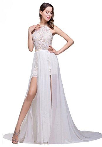 Unbekannt NEU Brautkleid Sommer Strand 34-42 Braut Kleid Hochzeit Schleppe Offener Rücken (36, Weiß/Champagner)