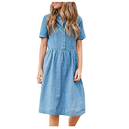Preisvergleich Produktbild KIMODO Jeanskleid Sommerkleid Damen Casual Lose Partykleider Kurzarm T-Shirt Turndown Neck Denim Elegant Boho Blumen Strand Kleider mit Taschen (Blau,  3XL)
