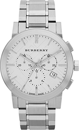 Sale! Authentic Burberry The City Luxury Women 42mm Round Chronograph Watch Stainless Steel Band Silver Date Dial BU9350