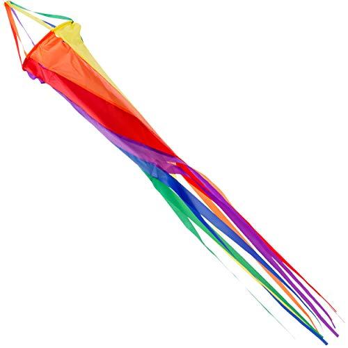 Wolkenstürmer Windsack, 120 cm – Regenbogen Windturbine - UV-beständig, robust und wetterfest - inkl. Aluwirbel