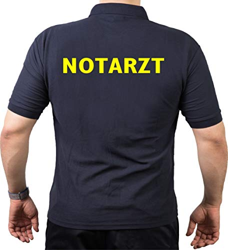 FEUER1 Poloshirt Navy, Notarzt in Neongelb L