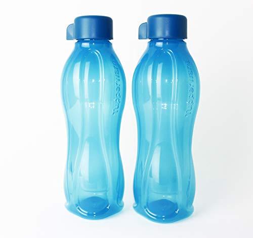 EcoEasy Tupperware Trinkflasche 2X 750ml Blau mit blauem Schraubverschluss + Geschenk 1-2 Teile Zufallswahl