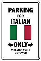 駐車場のみイタリア国旗 金属板ブリキ看板警告サイン注意サイン表示パネル情報サイン金属安全サイン