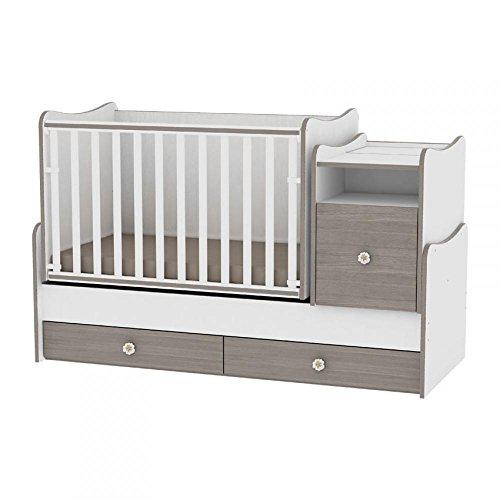 Lorelli Trend Plus Babybett, skalierbar/kombinierbar, Weiß/Cappuccinobraun (das Bett verwandelt sich in Jugendbett, Schreibtisch, Mehrzweckschrank)