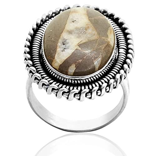 Silver Palace Anillo de plata de ley 925 con diseño de piñolito natural para mujeres y niñas
