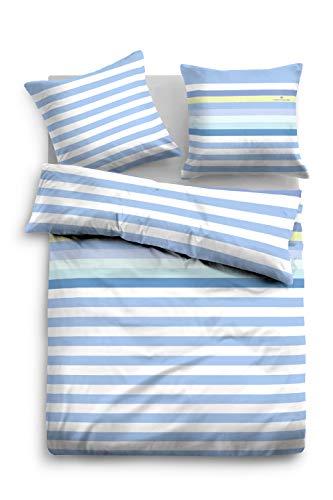 TOM TAILOR 0047610 Bettwäsche Garnitur mit Kopfkissenbezug Linon Rainbow 1x 135x200 cm + 1x 80x80 cm light blue