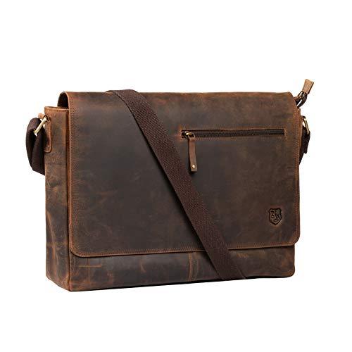Hodalump Sacoche en cuir véritable pour ordinateur portable • Porte-documents pour homme et femme • Idéal pour l'université, le bureau et le travail • Couleur : marron