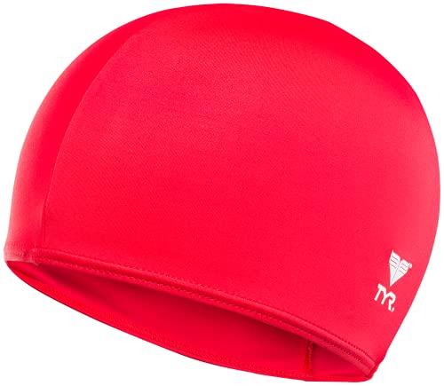 TYR Solid Bonnet de Bain Lycra Adulte Unisexe, Red, Taille Unique