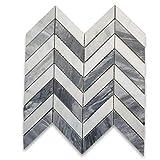 Stone Center Online Carrara White Marble & Bardiglio Gray 1x4 Chevron Mosaic Tile Honed for Kitchen Backsplash Bathroom Flooring Shower Surround Dining Room Entryway Corrido Spa (1 Sheet)