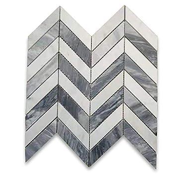 Stone Center Online Carrara White Marble & Bardiglio Gray 1x4 Chevron Mosaic Tile Honed for Kitchen Backsplash Bathroom Flooring Shower Surround Dining Room Entryway Corrido Spa  1 Sheet