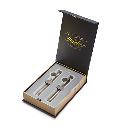 PARKER Jotter British Collection Set Confezione Regalo con Penna Stilografica e Penna a Sfera, Acciaio Inox con Finiture Cromate (1978324), jotter stainless steel