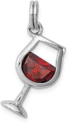 Collar para mujer Collar para hombre Colgante Rojo Acero inoxidable Zirconia Cubic CZ Copa de vino Colgante Collar Colgante Comida Bebida Joyería fina para mujeres Regalos para ella Collar colgante Re