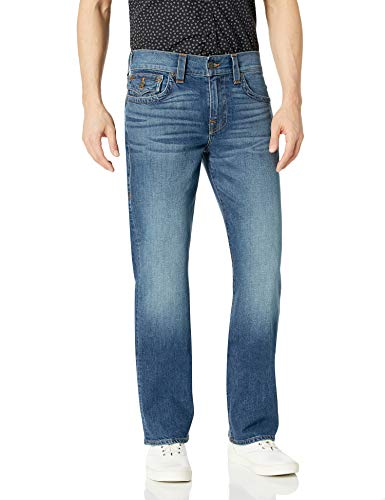 True Religion Men's Ricky Straight Leg Jean with Back Flap Pockets, Indigo Traveler, 36W X 34L