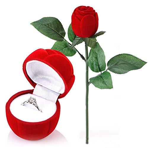 Rosa Forma Caja, NALCY Caja para Joyas, Anillo Estuches Rose Forma Collar de Terciopelo Caja de Regalo Joyas Pantalla Caja de almacenamiento para Anillos de Boda, San Valentín, Anillo de Compromiso