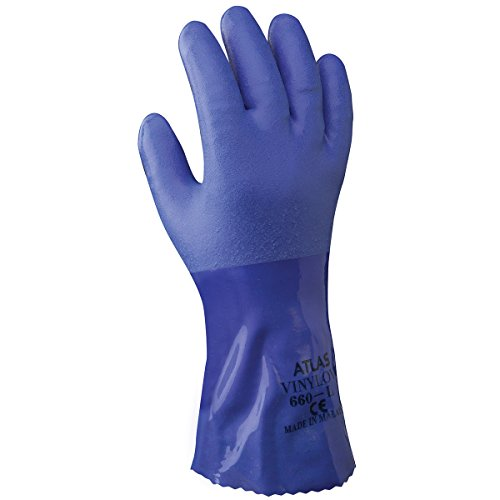 SHOWA Atlas 660M-08 Triple-Dipped PVC Coated Glove with Cotton Liner, Medium (Pack of 12 Pairs),Blue