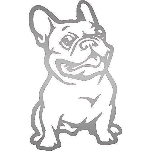 NBFU DECALS Funny Animals French Bulldog (Metallic Silver) (Set of 2) Premium Waterproof Vinyl Decal Stickers for Laptop Phone Accessory Helmet Car Window Bumper Mug Tuber Cup Door Wall Decoration