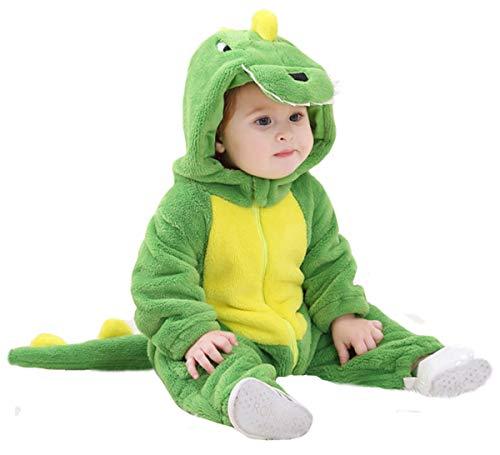 Doladola Unisex Baby Kleinkinder Strampler Overall mit Kapuze Cartoon Schlafanzüge (Grüner Dinosaurier, Größe 80 Alter 6-12 Monate)