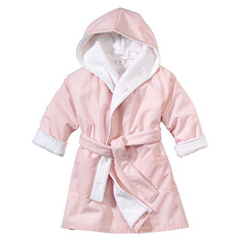 wellyou, Baby-Kinder-Bademantel, rosa-weiss Vichy-Karo, für Mädchen, 100% Baumwolle, Größe 68-74