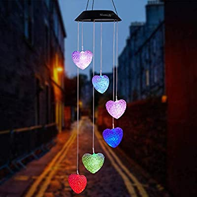 Mosteck Wind Chimes Outdoor Solar Heart Wind Chimes Color Changing LED Mobile Wind Chime Make a Great Birthday Gifts for Mom, Hanging Decorative Romantic Patio Lights for Yard Garden Home Party