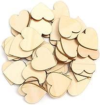50 piezas de madera con forma de corazón para colgar, decoración lisa, manualidades, 4cm/1.57 Inch