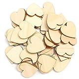 50 piezas de madera con forma de corazón para colgar, decoración lisa, manualidades 2cm/0.79 Inch