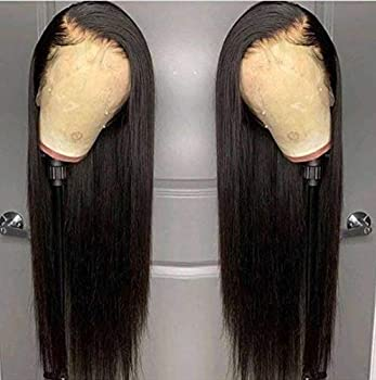 ANDRIA Lace Front Wigs Straight Hair Glueless Lace Wigs Synthetic Long Silk Straight Natural Wig Heat Resistant Fiber Natural Black Hair Wig With Baby Hair For Black Women 24 Inches